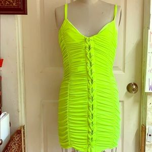 Ruched stretchy neon green dress